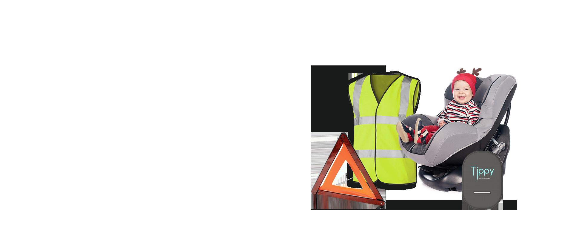 Emergenza - Triangoli di segnalazione, gilet ad alta visibilità ed estintori